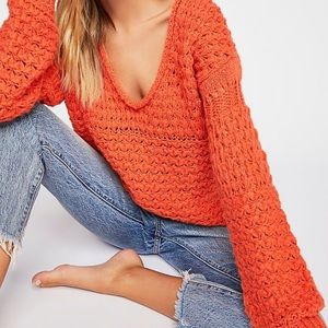 Free People Crashing Waves Crochet Boho Pullover